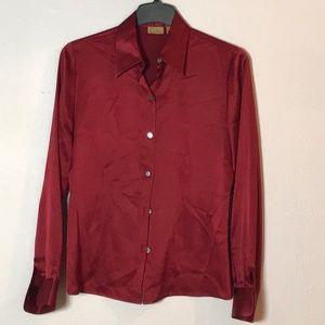 Caslon Red Silk Shirt sz s